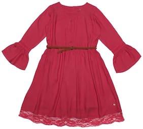 Allen Solly Girl Viscose Solid Frock - Pink