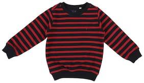 Allen Solly Boy Cotton blend Striped Sweatshirt - Red & Black