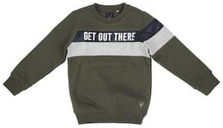 Allen Solly Boy Cotton blend Printed Sweatshirt - Green
