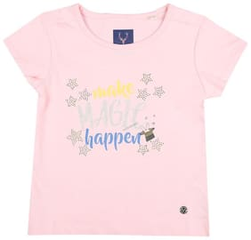 Allen Solly Girl Cotton Printed T shirt - Pink