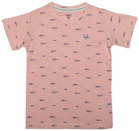 Allen Solly Boy Cotton Printed T-shirt - Pink