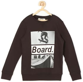 Allen Solly Boy Blended Solid Sweatshirt - Brown