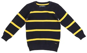 Allen Solly Boy Cotton Striped Sweater - Blue
