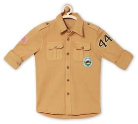 Allen Solly Boy Blended Solid Shirt Brown