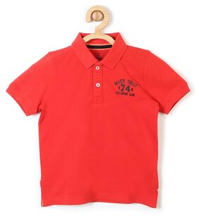 Allen Solly Boy Cotton Solid T-shirt - Red