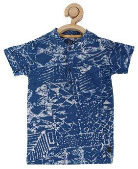 Allen Solly Boy Blended Solid T-shirt - Blue