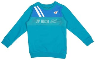Allen Solly Boy Blended Solid Sweatshirt - Blue