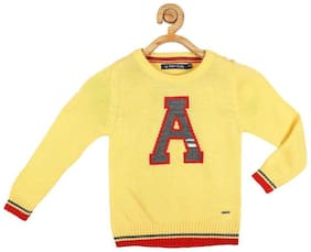 Allen Solly Boy Acrylic Solid Sweater - Yellow