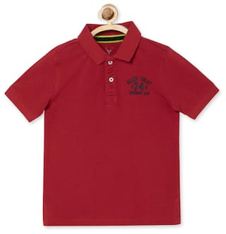 Allen Solly Boy Blended Solid T-shirt - Red