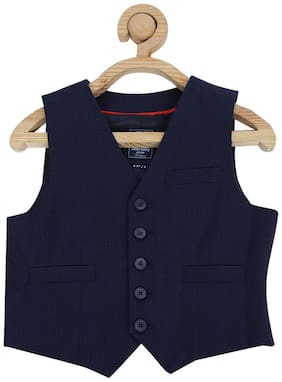 Allen Solly Boy Blended Solid Kurta pyjama set - Blue