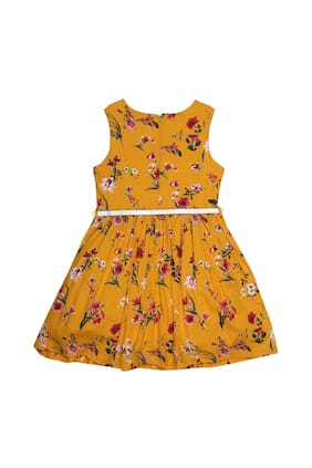 Allen Solly Girl Viscose Printed Frock - Yellow