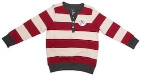 Allen Solly Boy Cotton Striped Sweatshirt - Maroon