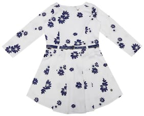 Allen Solly White Cotton 3/4th Sleeves Knee Length Princess Frock ( Pack of 1 )