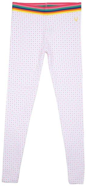 Allen Solly Cotton blend Polka dots Leggings - White