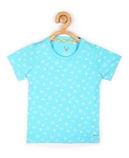 Allen Solly Boy Cotton blend Printed T-shirt - Blue