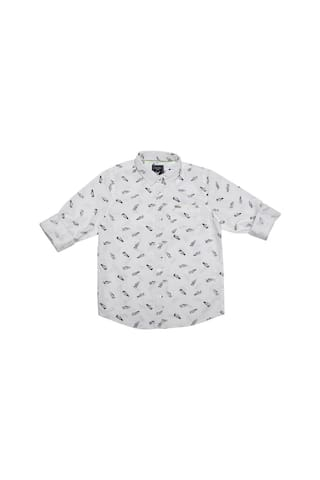 Allen Solly Boy Cotton Printed Shirt White
