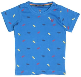 Allen Solly Boy Cotton Printed T-shirt - Blue