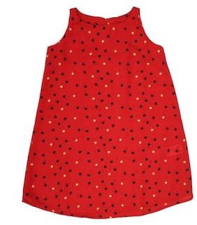 Allen Solly Girl Polyester Solid Frock - Red