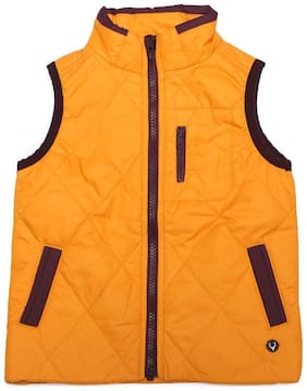 Allen Solly Boy Polyester Solid Winter jacket - Yellow