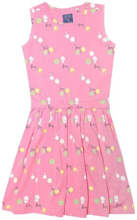 Allen Solly Cotton Printed Frock - Pink