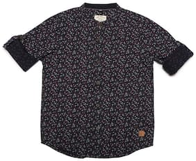 Allen Solly Boy Cotton Printed Shirt Black