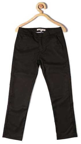 Allen Solly Boy Solid Trousers - Black