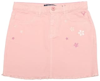 Allen Solly Girl Cotton blend Embroidered A- line skirt - Pink