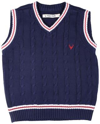 Allen Solly Boy Cotton Solid Sweater - Blue