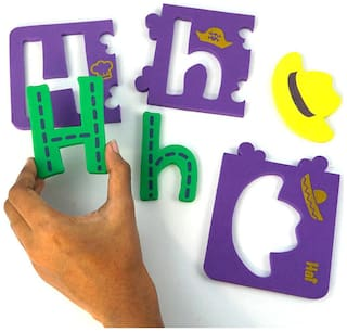 Alpha Puzzle - Self-correcting puzzle to learn Alphabets from A to Z - in Small, Capital letters and Associated Objects- made of soft, safe and durable 6 mm Foam
