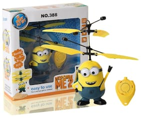 Alshaik Kids Despicable Me Minion Toys Infrared Sensor Aircraft Toy Rc Helicopter