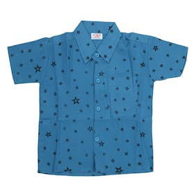 AMAANEE BY REDSON Boy Cotton blend Printed Shirt Blue