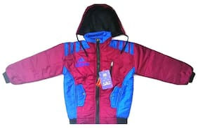 AMAANEE BY REDSON Boys Winters Stylish Printed maroon & blue Hooded Jacket