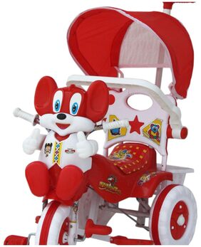 amardeep and co baby tricycle red 1522mz red with shade and parental control 1-3 yrs baby by nagar international