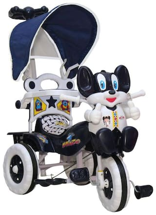 amardeep and co baby tricycle navy blue with shade and parental control white and navy blue by nagar international