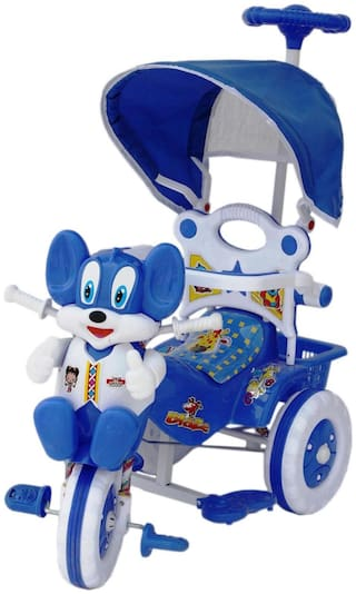 Amardeep Baby Tricycle Blue And White With Shade & Parental Control