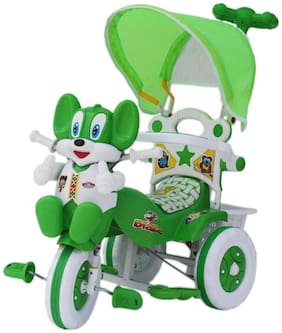 Amardeep Baby Tricycle Green And White With Shade & Parental Control