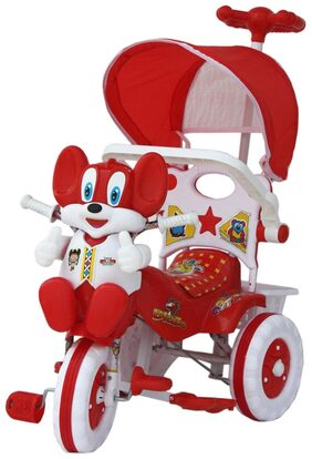 Amardeep Baby Tricycle Red & White 1-4 Yrs W/Shade And Parental Control