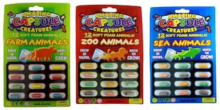 Amazing Capsule Creatures Grow in Water Soft Animal Magic (Sea Animal , Farm Animal , Zoo Animal) (3Pc) Assorted Color