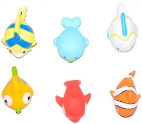 Amazing Mixed Colorful Chu Chu Squeezy Fish Shaped Bath Toys for Kids ( 6 Pcs Set)Non -Toxic