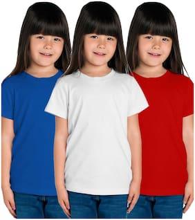 American-Elm Girl Cotton Solid T shirt - Multi