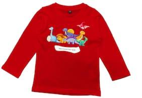 American-Elm Boy Cotton Cartoon print T-shirt - Red