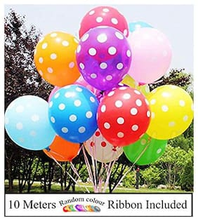 AMFIN (Pack Of 30) Polka Dots Balloons Multicolor