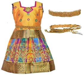 Amirtha Fashion Baby girl Art silk Abstract Lehenga choli - Multi