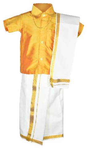 Amirtha Fashion Boy Art silk Solid Dhoti kurta - Yellow