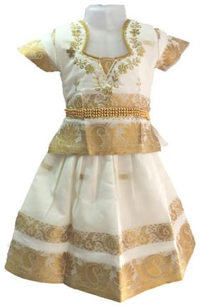 Amirtha Fashion Baby girl Art silk Solid Lehenga choli - White