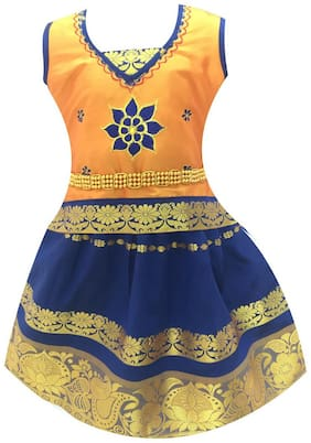 Amirtha Fashion Girls Traditional SEMBHAGA PATTU Lehenga Choli's (AMFSPGB)