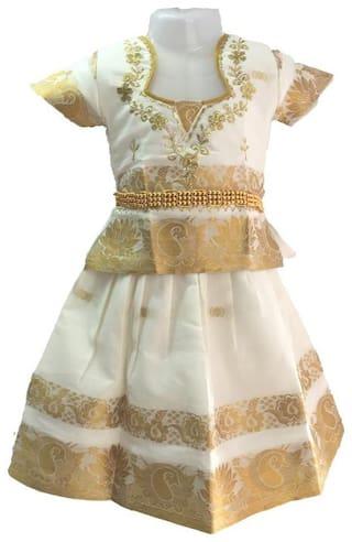 Amirtha Fashion Girl's Art silk Embellished Short sleeves Lehenga choli - White