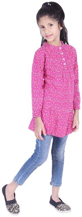 AMMANYA Girl Rayon Printed Top - Pink