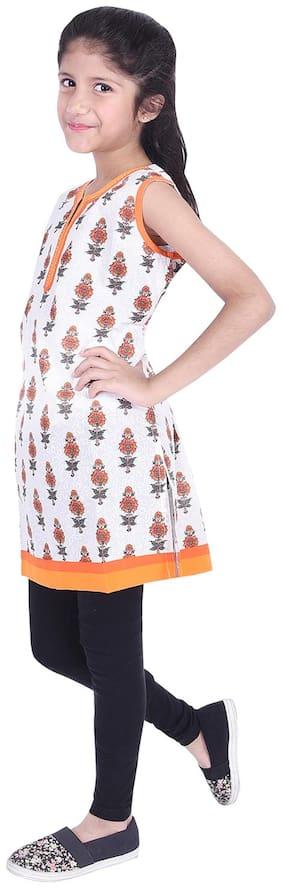 AMMANYA Girl's Cotton Printed Sleeveless Kurta & kurti - White