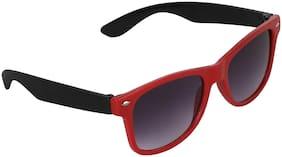 Amour Black & Red Full Frame Wayfarer Sunglasses with Black Lens for Kids with Case